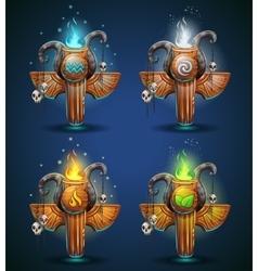 Set shaman totems - symbols four elements vector