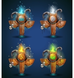 Set shaman totems - symbols of the four elements vector image