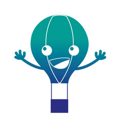 Silhouette happy air balloon kawaii with arms vector