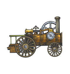 Steam engine tractor sketch engraving vector