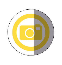 Sticker yellow circular frame with tech camera vector