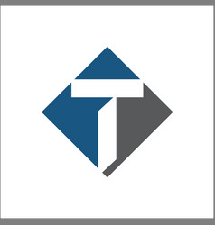 t initial logo square vector image