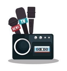 Tape recorder cassette news microphone graphic vector