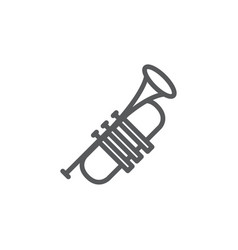 trumpet line icon on white background vector image