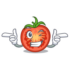 Wink cartoon tomato slices on chopping board vector