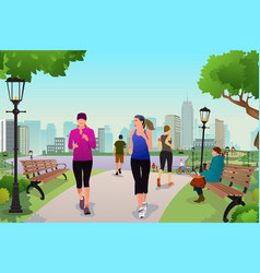 women running in a park vector image