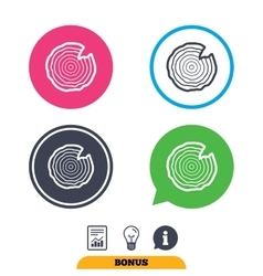 Wood sign icon Tree growth rings vector
