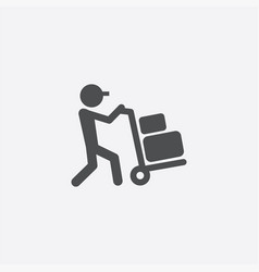 Worker trolley icon vector