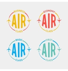 Airplane flight badges in flat style vector