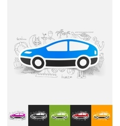 Car paper sticker with hand drawn elements vector