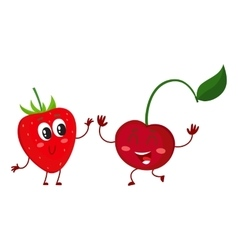 Cute funny comic style garden strawberry and vector image