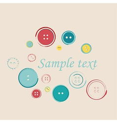 Decorative Group of Sewing Buttons with Sample vector image