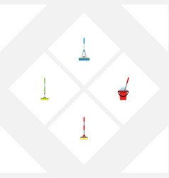 flat icon mop set of equipment sweep bucket and vector image vector image