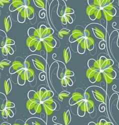 floral back blue pattern vector image