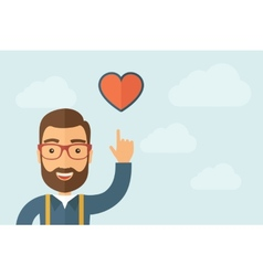 Man pointing the heart icon vector image