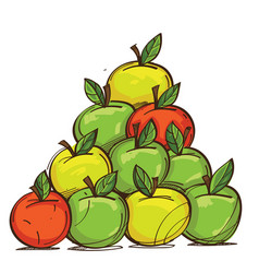 set of red yellow and green apples isolated on vector image