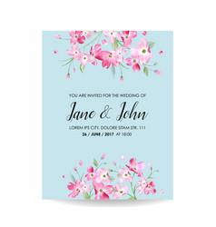 wedding invitation spring cherry flowers vector image