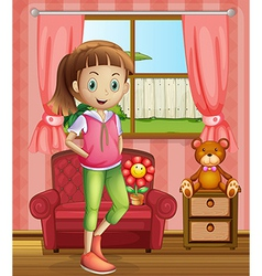 A cute young girl inside the house vector image vector image
