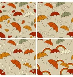 autumn seamless patterns vector image