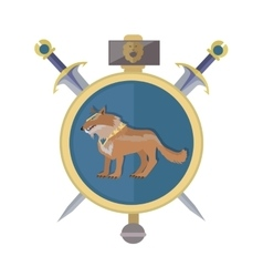 Braun wolf in the collar icon in flat vector