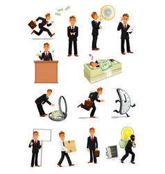 businessman character set business people design vector image