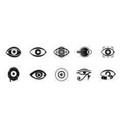 eyes icon set simple style vector image