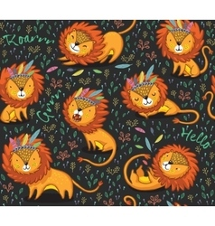 Funny lions seamless pattern with black vector image