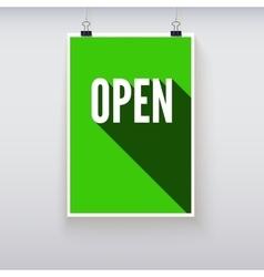 Open shopping door signs board vector image