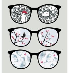 Retro sunglasses with cold winter reflection vector