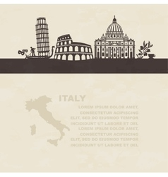 Silhouettes of famous landmarks in Italy vector image