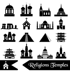 world religions types of temples icons eps10 vector image