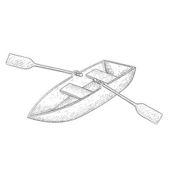 boat with paddles hand drawn sketch vector image