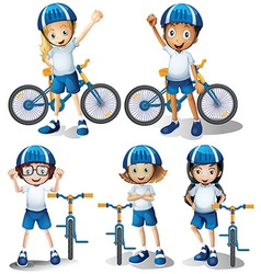 Boys and girls riding bicycle vector image