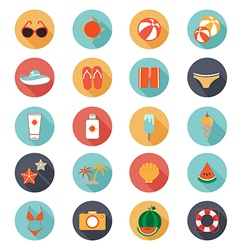 flat icons collection with long shadow of summer vector image vector image
