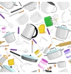Kitchenware patternCartoon kitchen utensil vector image vector image