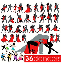 36 dancers silhouettes set vector image vector image