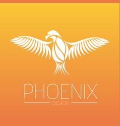 flaming phoenix bird with wide spread wings in vector image