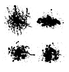 set of artistic ink watercolor splashes vector image