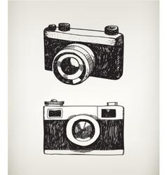 set of hand drawn vintage cameras vector image