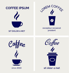 steaming coffee cards design vector image vector image