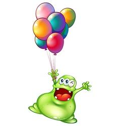A monster with metallic balloons vector