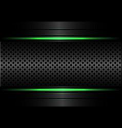 Abstract black metallic circle mesh green line vector