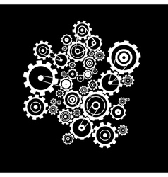 Abstract Cogs - Gears on Black Background vector image