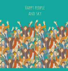 big group happy people and sky vector image