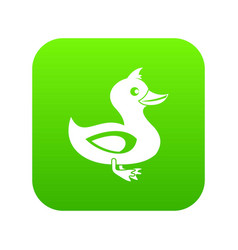 black duck icon digital green vector image