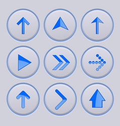Blue arrow on gray buttons 3d icons set vector