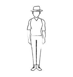 Blurred silhouette full body faceless explorer man vector