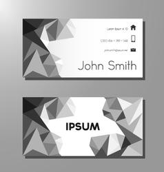 Business card template - black and white polygons vector image