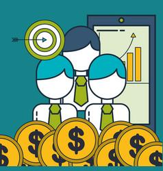 business people target phone money digital vector image