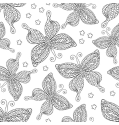 Butterflies seamless pattern monochrome coloring vector image